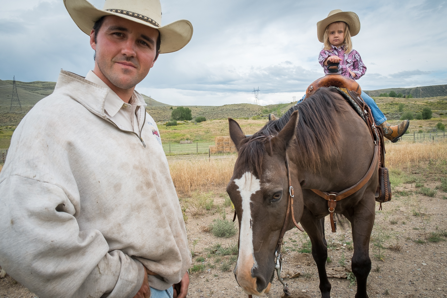 western life cowboy cowgirl horse father daughter