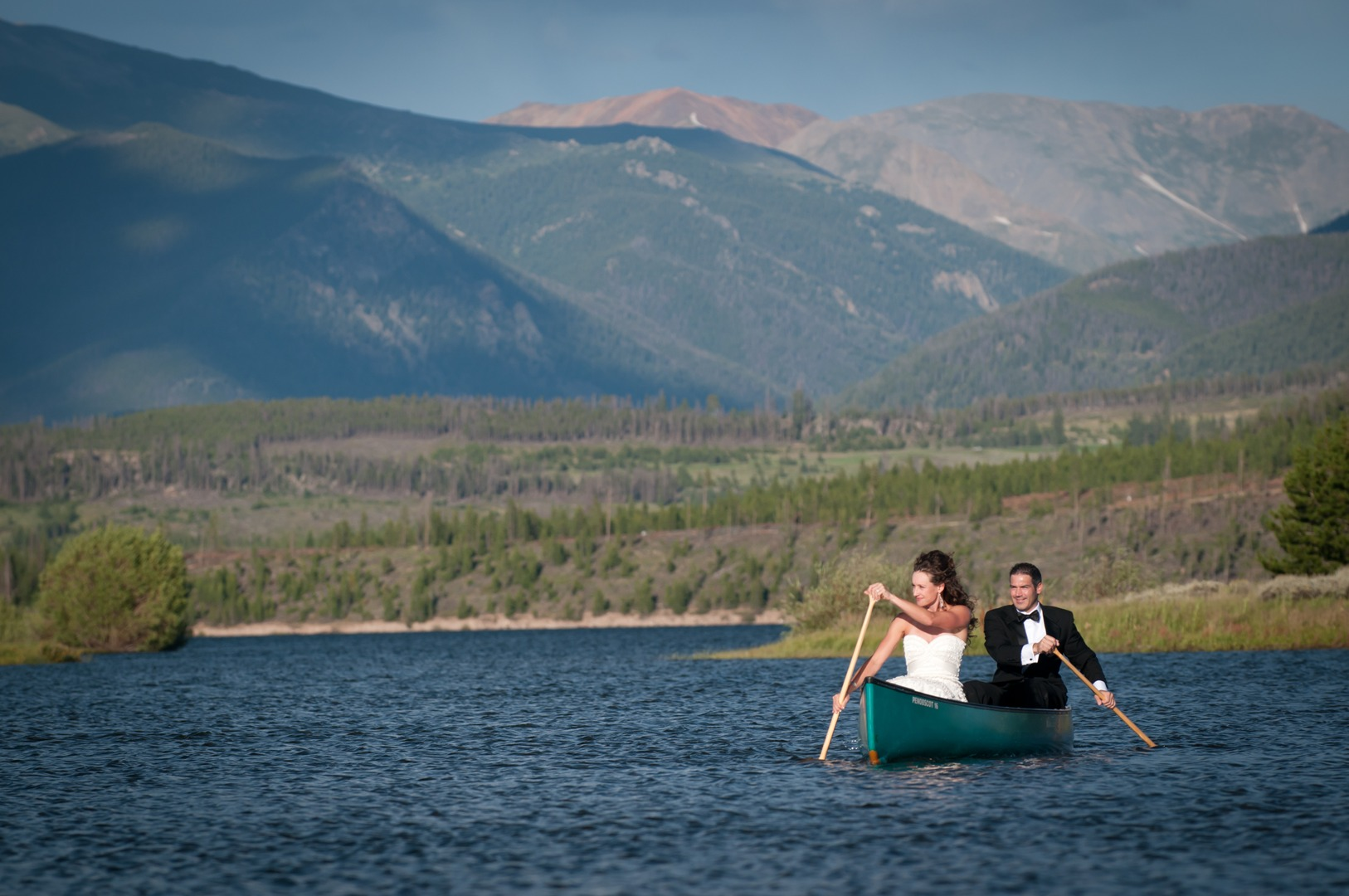 canoe couple engagement portrait